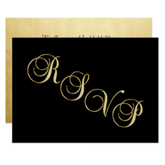 Falso aniversario de boda negro elegante de RSVP Invitación 8,9 X 12,7 Cm