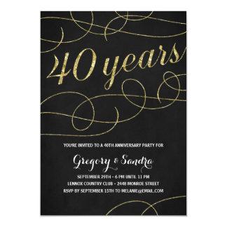 Falso aniversario elegante de la hoja de oro del invitación 12,7 x 17,8 cm