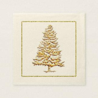 Falso árbol y esquema del oro de la servilleta de servilleta desechable