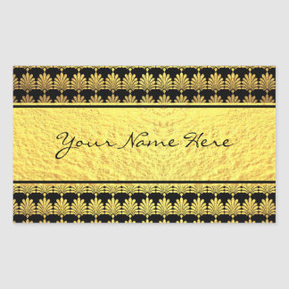 Falso art déco de lujo del oro con nombre pegatina rectangular