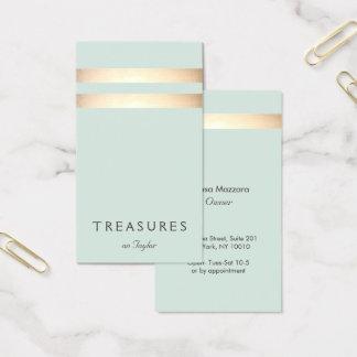 Falso azul claro rayado elegante de la hoja de oro tarjeta de negocios