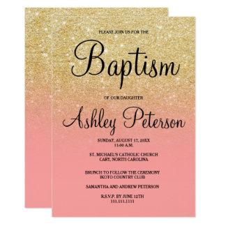 Falso bautismo del ombre del rosa del brillo del invitación 12,7 x 17,8 cm