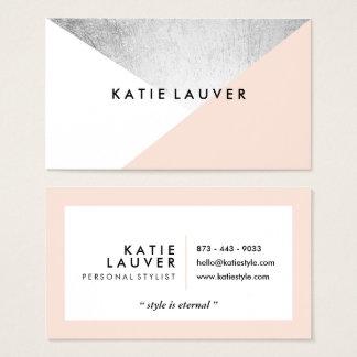 Falso bloque moderno blanco coralino del color de tarjeta de negocios