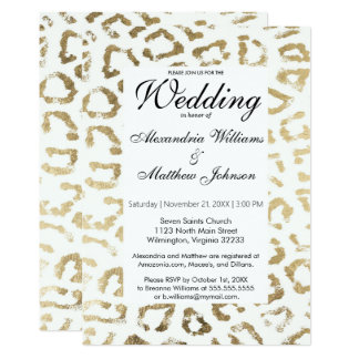Falso boda blanco elegante del estampado de invitación 12,7 x 17,8 cm