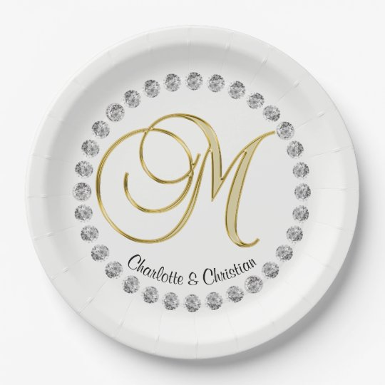 Falso boda de encargo elegante del monograma del plato de papel