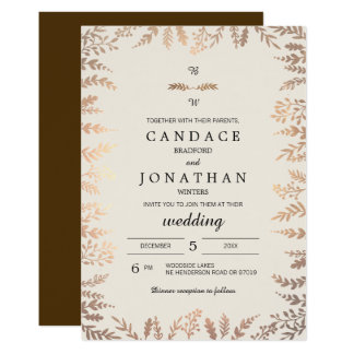 Falso boda elegante del follaje del oro invitación 12,7 x 17,8 cm