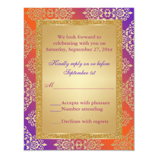 FALSO brillo anaranjado púrpura del oro, tarjeta Invitación 10,8 X 13,9 Cm