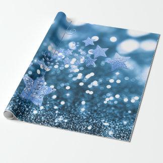 Falso brillo azul y estrellas de Bokeh Papel De Regalo