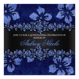 Falso brillo azul y terciopelo Quinceanera floral Invitación 13,3 Cm X 13,3cm