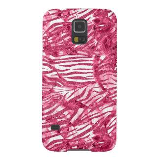 Falso brillo del estampado de zebra rosado funda para galaxy s5