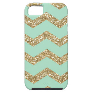 Falso brillo del oro de Chevron de la menta de Funda Para iPhone SE/5/5s