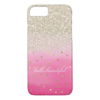 Falso brillo del oro de la acuarela rosada hermoso funda para iPhone 8/7