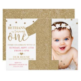 Falso brillo del oro del primer cumpleaños y invitación 12,7 x 17,8 cm