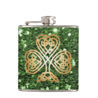 Falso brillo del verde céltico brillante de oro petaca