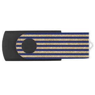 Falso brillo elegante del oro y modelo de la raya memoria USB