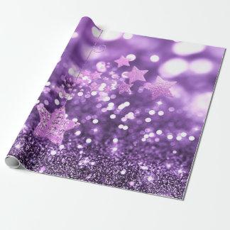 Falso brillo púrpura y estrellas de Bokeh Papel De Regalo