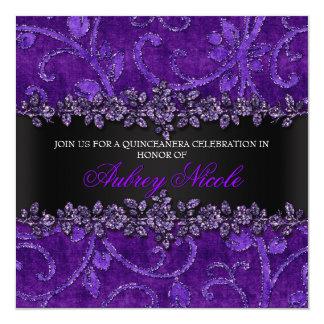 Falso brillo púrpura y terciopelo Quinceanera Invitación 13,3 Cm X 13,3cm