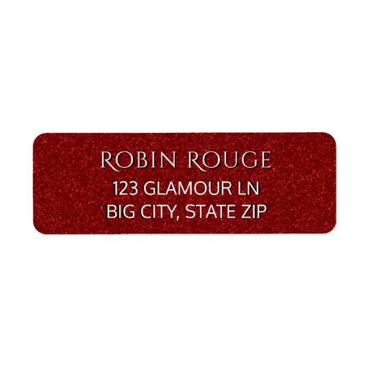 Falso brillo rojo atractivo de lujo elegante lindo etiquetas de remite