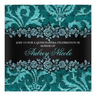 Falso brillo y terciopelo Quinceanera floral del Invitación 13,3 Cm X 13,3cm
