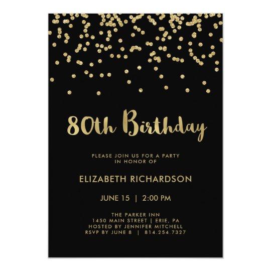 Falso confeti del oro en la 80.a fiesta de invitación 12,7 x 17,8 cm