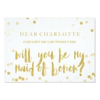 Falso confeti del oro usted será mi criada del invitación 12,7 x 17,8 cm