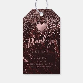 Falso corazón color de rosa del oro de etiquetas para regalos