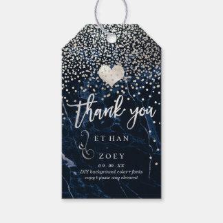 Falso corazón de plata de etiquetas para regalos