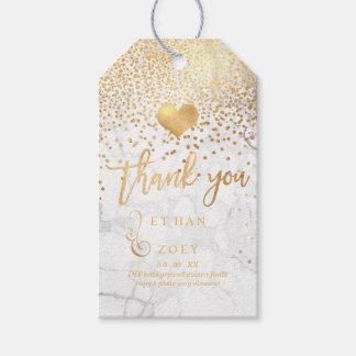 Falso corazón del oro de PixDezines+Confeti+Mármol Etiquetas Para Regalos