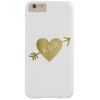 falso corazón del oro del amor con iniciales, funda barely there iPhone 6 plus