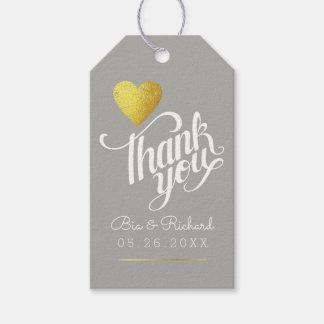 falso corazón del oro del amor, gracias que el etiquetas para regalos