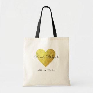 falso corazón del oro del boda del amor bolso de tela