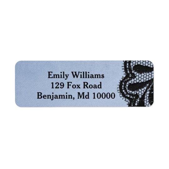 Falso cordón elegante azul y negro etiqueta de remite