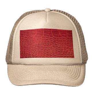 Falso cuero rojo del cocodrilo gorros bordados