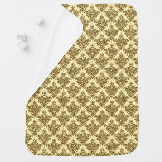 Falso damasco del brillo del amarillo y del oro mantitas para bebé