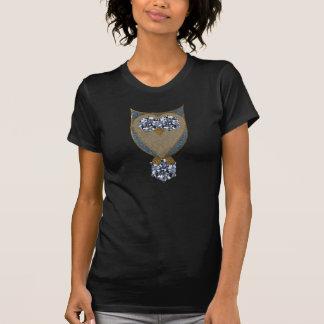 Falso diamante artificial del búho azul de Bling Camiseta