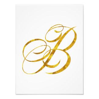Falso diseño de letra metálico de la hoja de oro impresion fotografica
