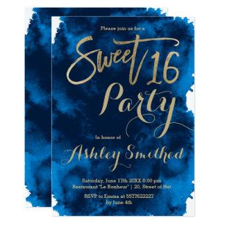 Falso dulce 16 de la acuarela de los azules invitación 12,7 x 17,8 cm