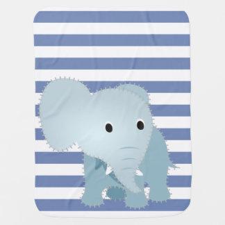 Falso elefante azul acolchado en las rayas azules mantita para bebé