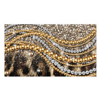 Falso estampado de animales del leopardo de moda tarjetas de visita