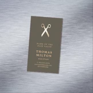 Falso estilista metalizado oscuro elegante mínimo tarjetas de visita magnéticas