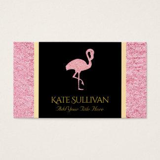 falso flamenco rosado del brillo tarjeta de visita