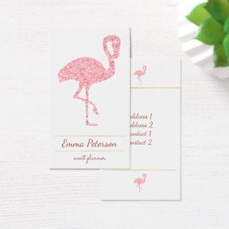 falso flamenco rosado del purpurina tarjeta de visita