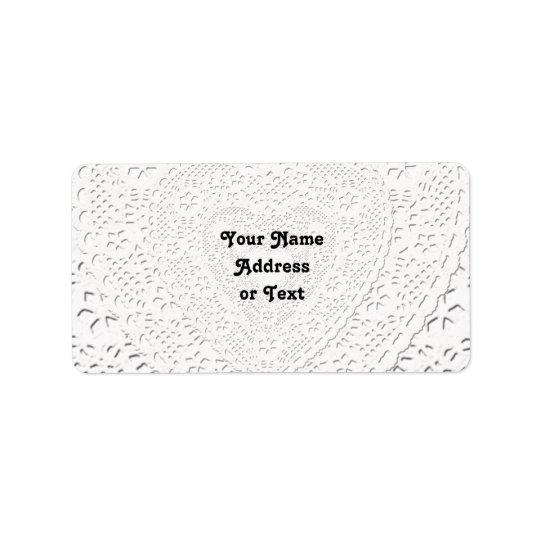 Falso fondo blanco de la tela del cordón etiquetas de dirección