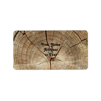 Falso fondo de los anillos de árbol etiquetas de dirección