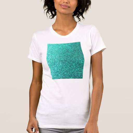 Falso gráfico del brillo de la turquesa camiseta