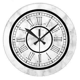Falso mármol blanco elegante reloj redondo grande