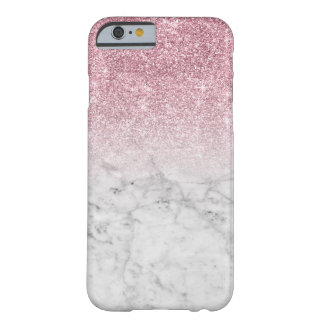 Falso mármol rosado de moda femenino del brillo funda barely there iPhone 6