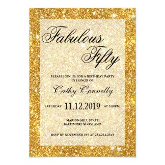 Falso modelo cincuenta fabulosos del brillo del invitación 12,7 x 17,8 cm
