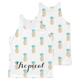 falso modelo de la piña del oro del verano fresco camiseta de tirantes con estampado integral