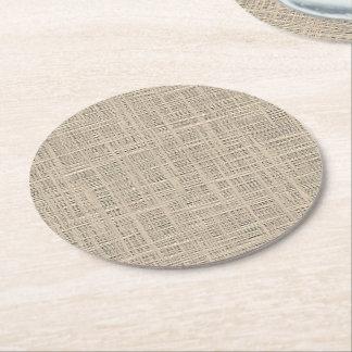 Falso modelo de la tela del yute del color de posavasos redondo de papel